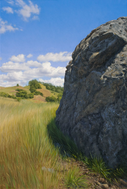 Stone in Shadow, oil on canvas painting by Sonoma County artist Christopher Evans