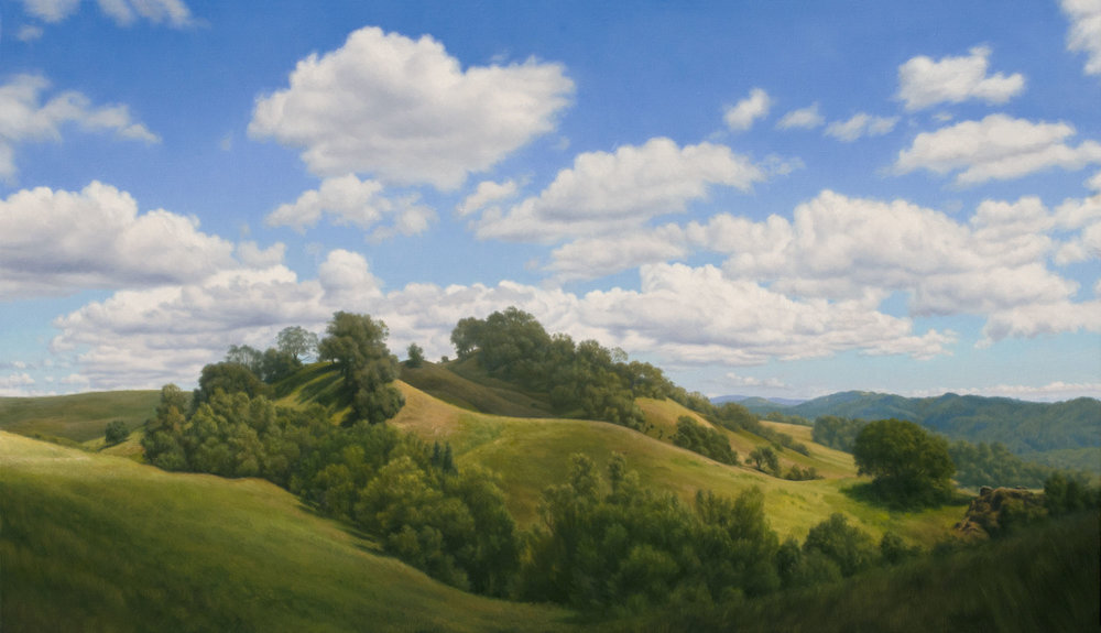 Cloud Shadows on High Hill, oil on canvas painting by Sonoma County artist Christopher Evans