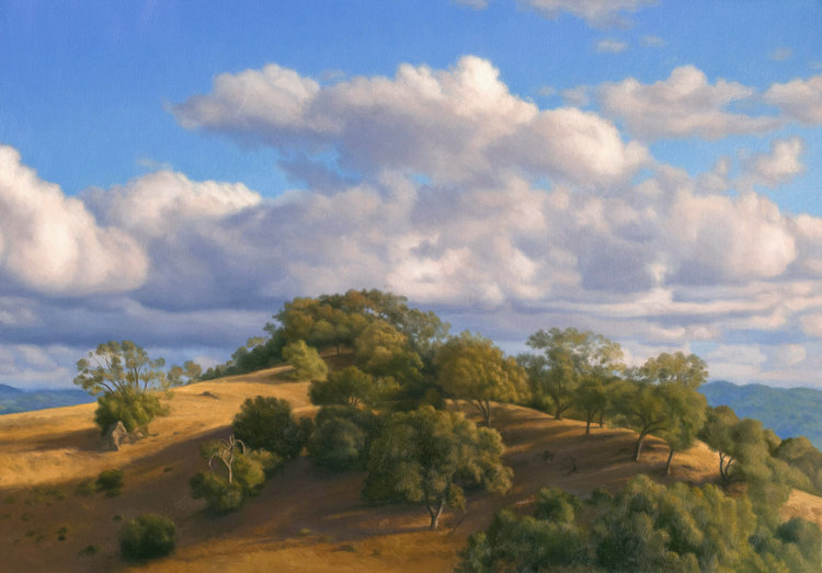 Clouds Drifting Over High Hill, , oil on canvas painting by Sonoma County artist Christopher Evans