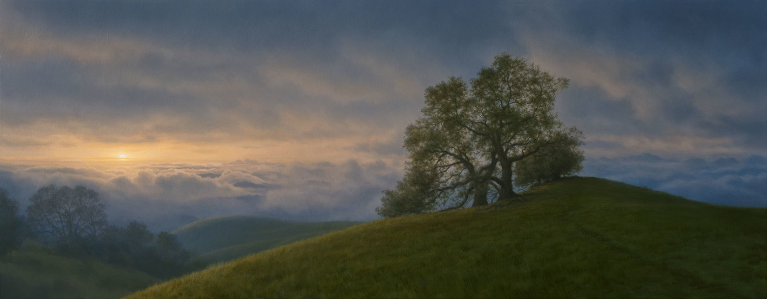Sunset Through Storm Clouds, Three Tree Hill, oil on canvas painting by Sonoma County artist Christopher Evans