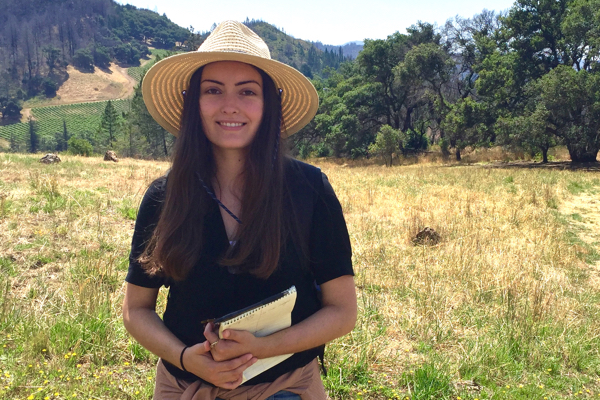 Intern Lauren McGue at Pepperwood Preserve
