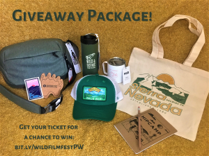 Shows giveaway gear items including tote bag, hat, insulated tumbler and mug, and sling bag.